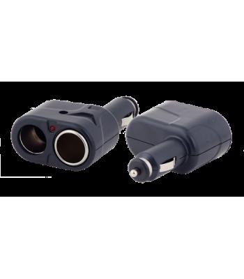 Elcomp Auto Cigarette Plug To 2 x Inline Socket Разклонител за автозапалка