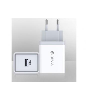 Devia Smart Charger (EU, 10.5W) For Android & iOS 300189 White Зарядно
